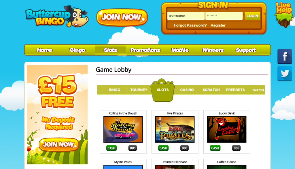 Buttercup Bingo site review